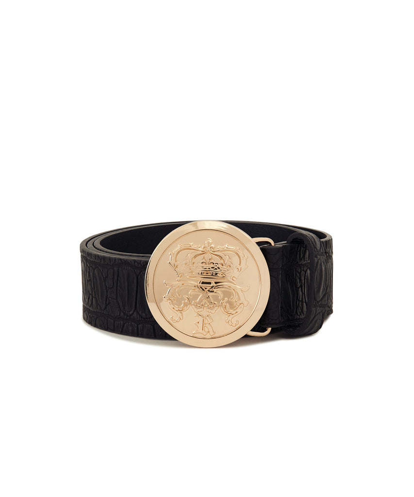 Faux crocodile skin belt with molded Reason gold accent buckle.