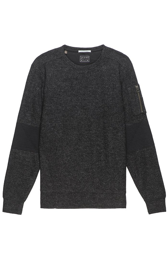 Heathered Fleece Moto Crewneck - The Plug Dallas
