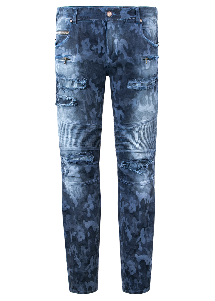 CAMO BIKER DENIM (Blue) - The Plug Dallas