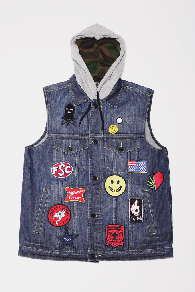 Issa vibe. The Vibes Hooded Denim Vest by Fly Supply.