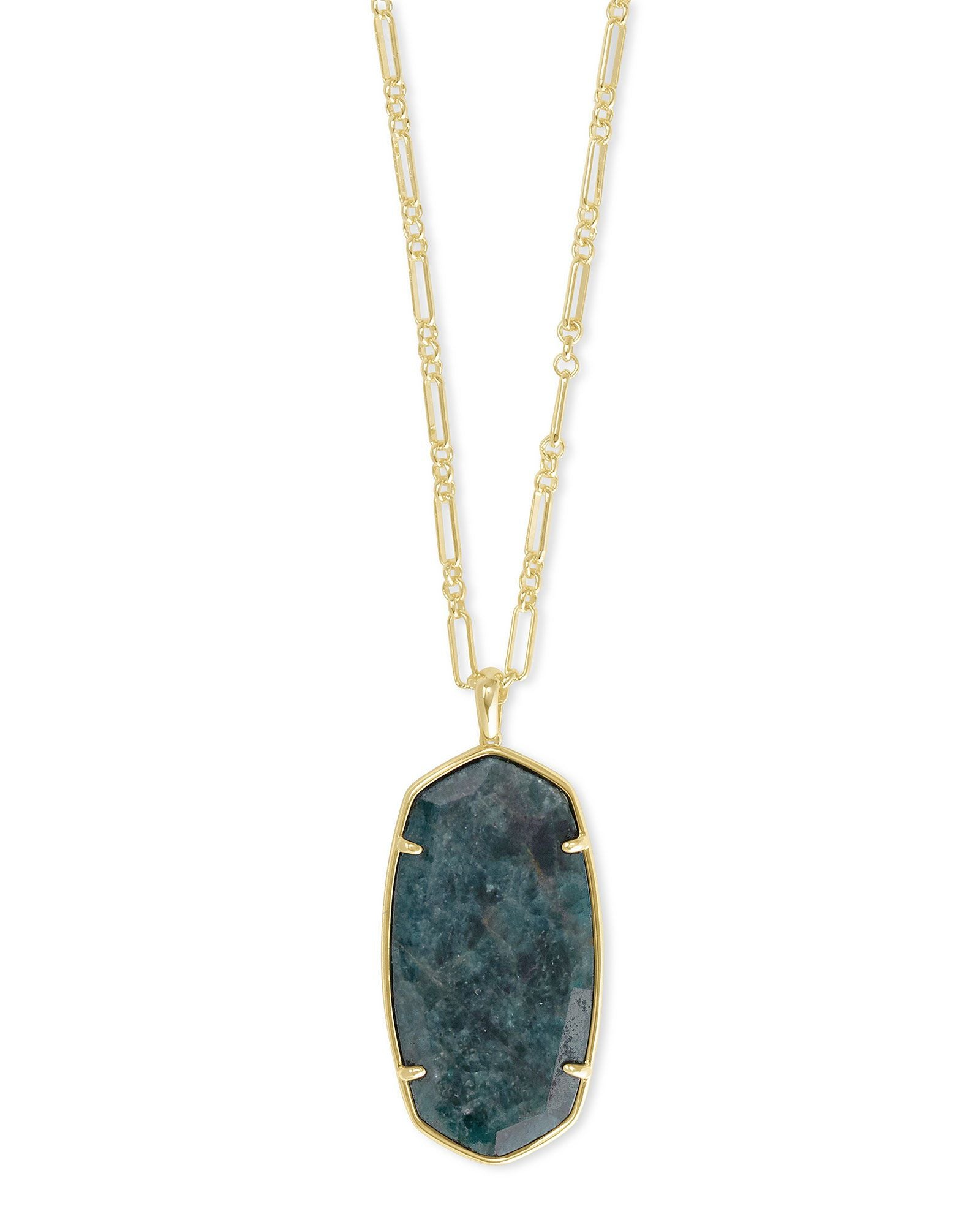 Faceted Reid Necklace Gold Green Apatite