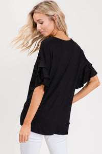 Black Top with Short Ruffle Sleeves