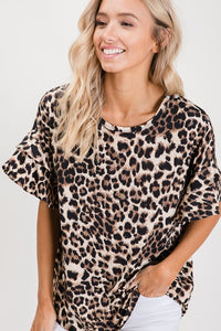 Leopard Top with Short Ruffle Sleeves