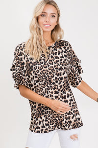 Leopard Print Top with Short Ruffle Sleeves