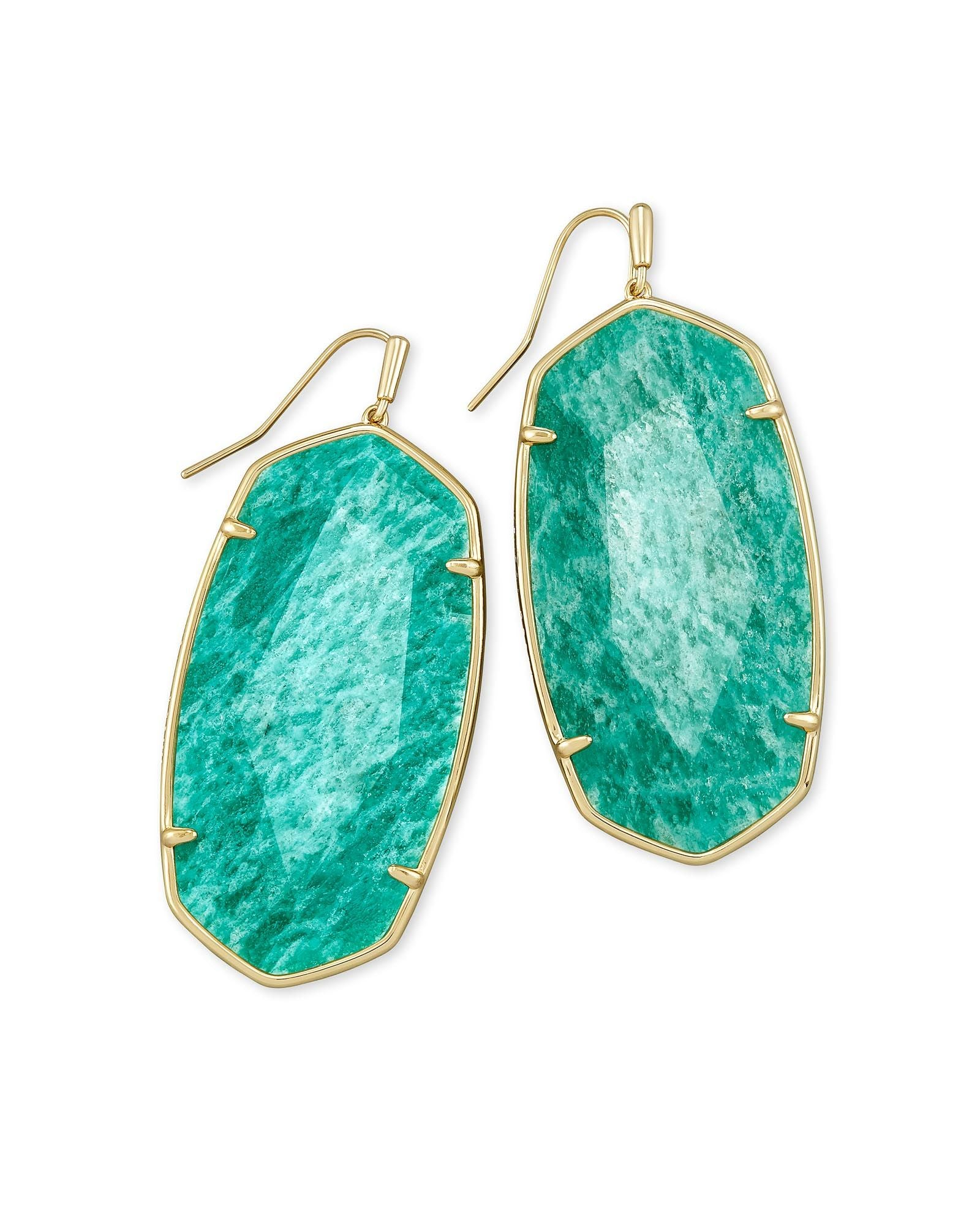 Faceted Danielle Earring Gold Dark Teal Amazonite