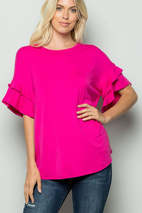 Fuchsia Pink Top with Short Ruffle Sleeves
