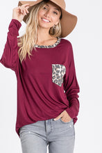 Burgundy Top with Leopard Pocket