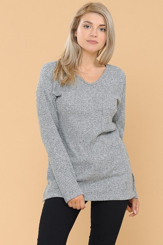 Gray Waffle Knit Top