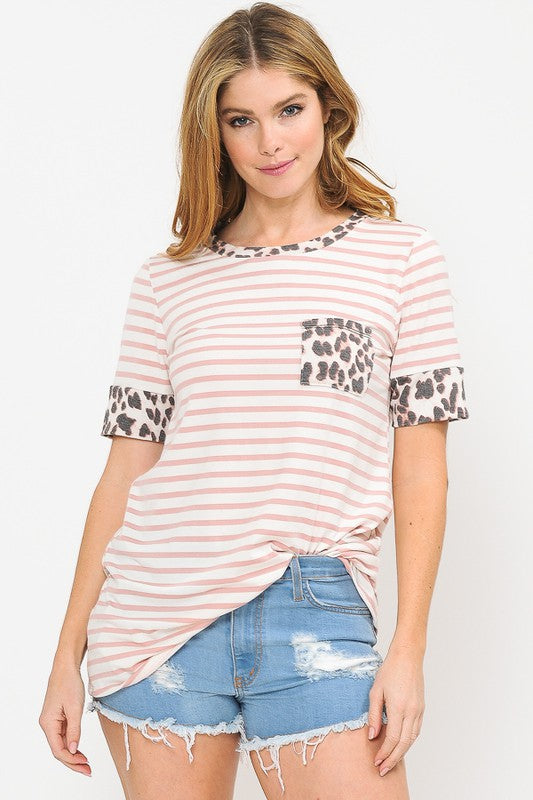 Short Sleeve Striped Top - Leopard Pocket