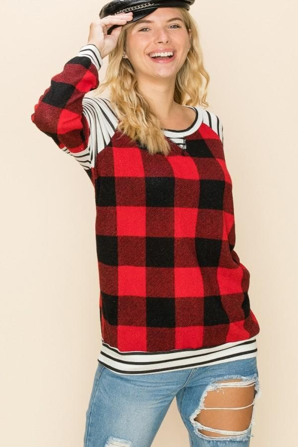 Buffalo Plaid and Stripe Top
