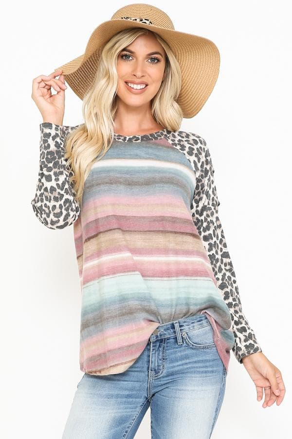 Striped Top with Stripes and Leopard Detail