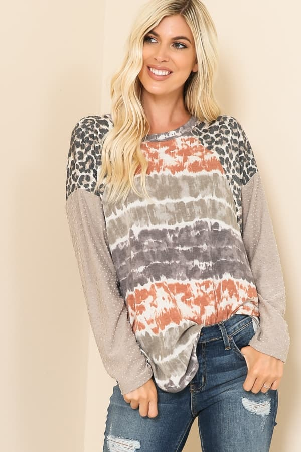 Tie Dye Taupe and Leopard Top