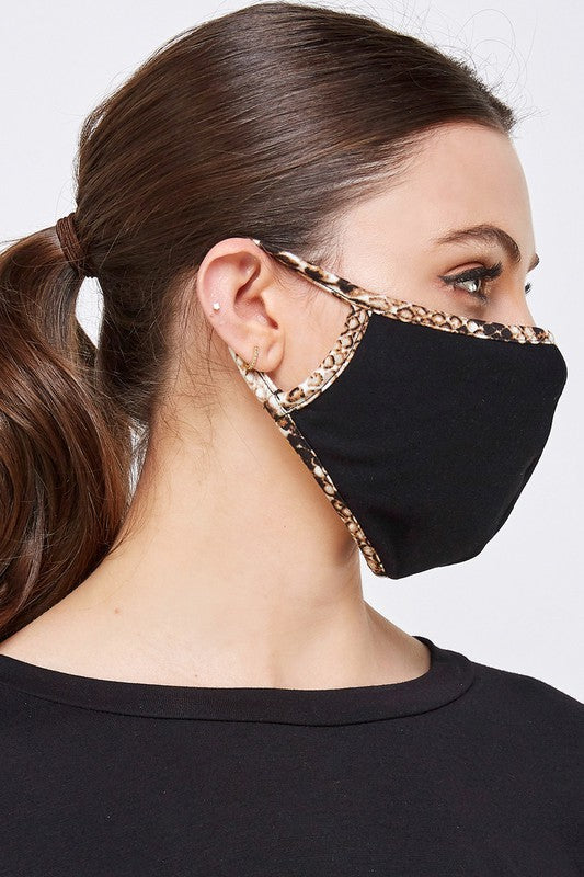 Black and Snake Print Trim Mask