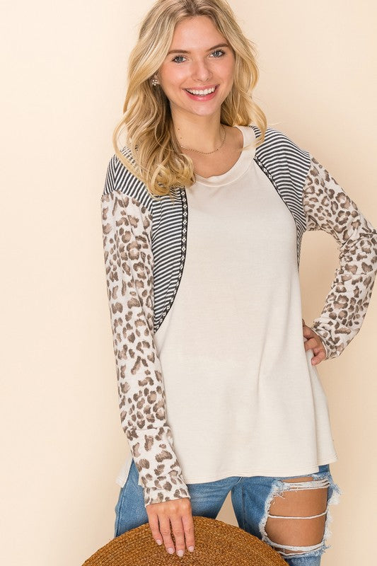 Beige Stripe and Leopard Top