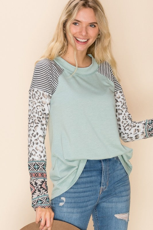 Green Top with Stripes and Leopard Detail
