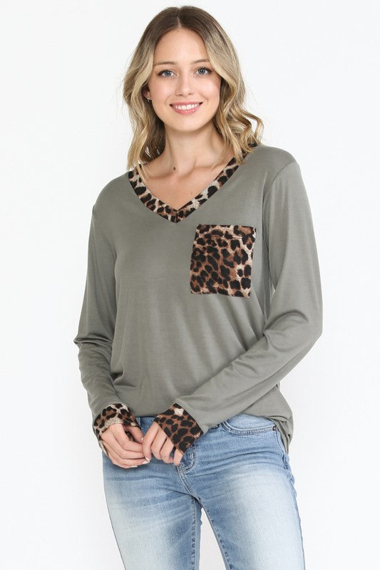Olive V Neck Top with Leopard Trim