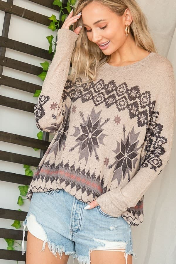 Tan Snowflake Top