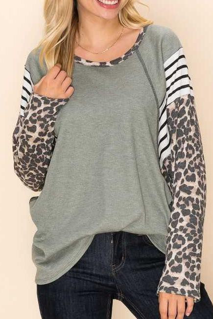 Sage and Leopard Print Top