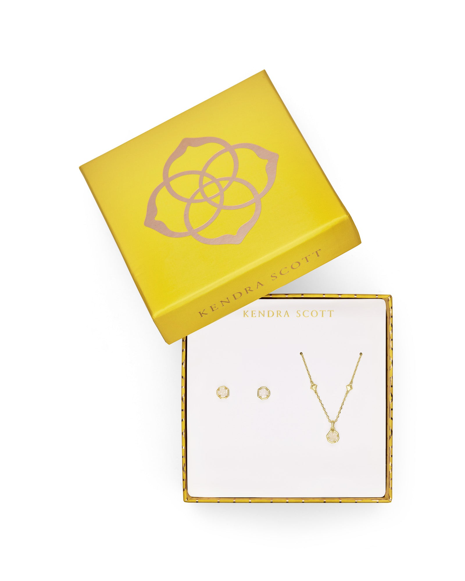Gift Set Nola Necklace & Stud Gold Iridescent Drusy