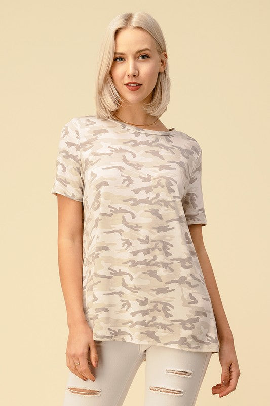 Ivory Camo Short Sleeved Top