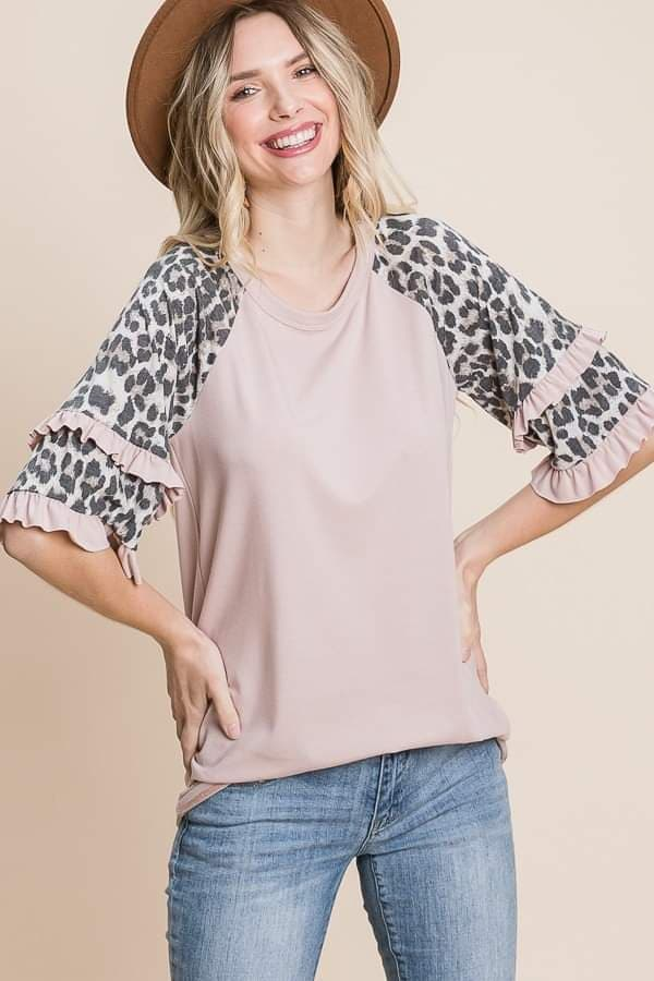 Blush and Leopard Double Ruffle Sleeve Top