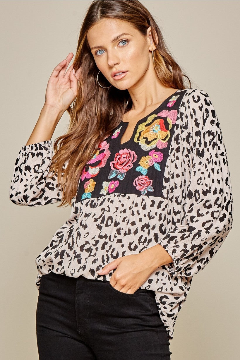 Animal Print Top With Embroidered Flowers