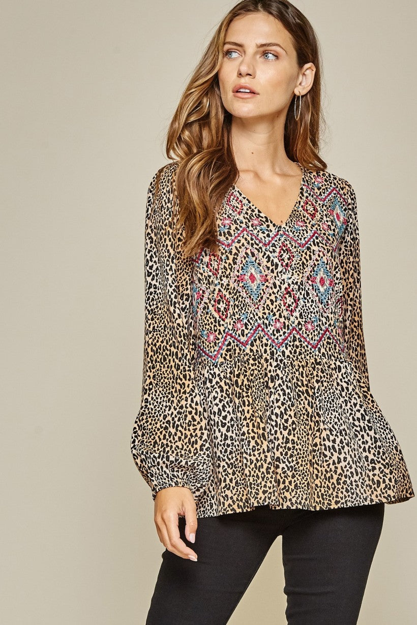 Leopard V Neck Top With Embroidery