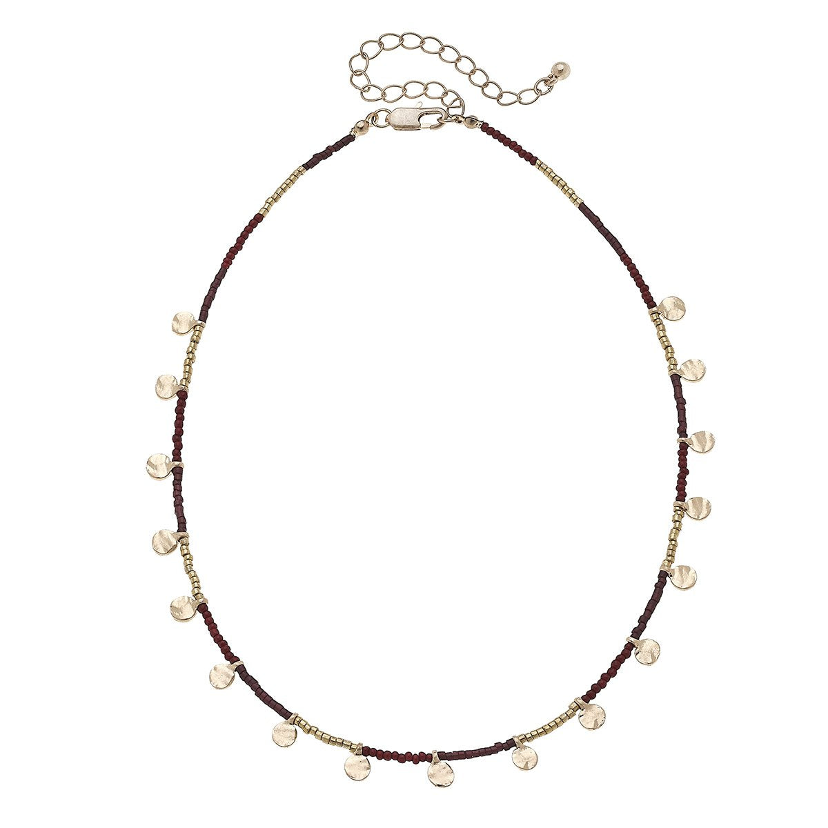 Discs Drip Seed Bead Necklace in Burgundy