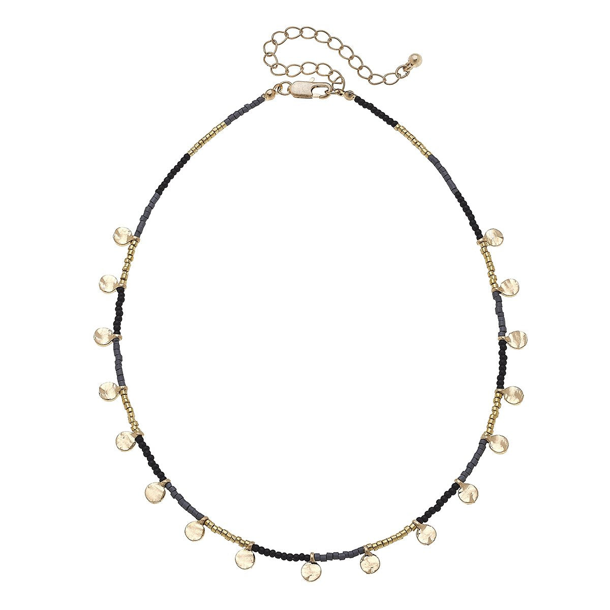 Black Discs Drip Seed Bead Necklace