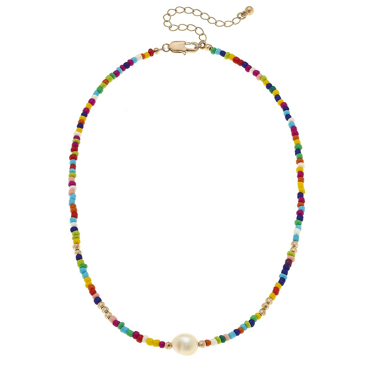 Lulu Pearl Necklace In Multi Seed Beads