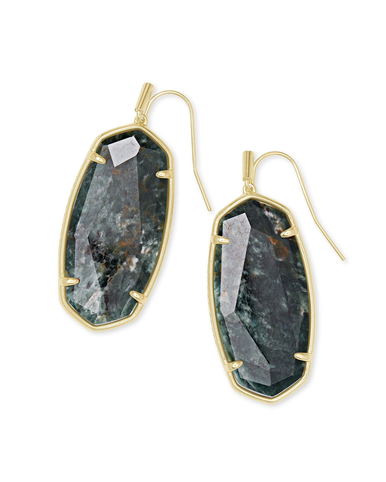 Faceted Elle Earring Gold Green Apatite
