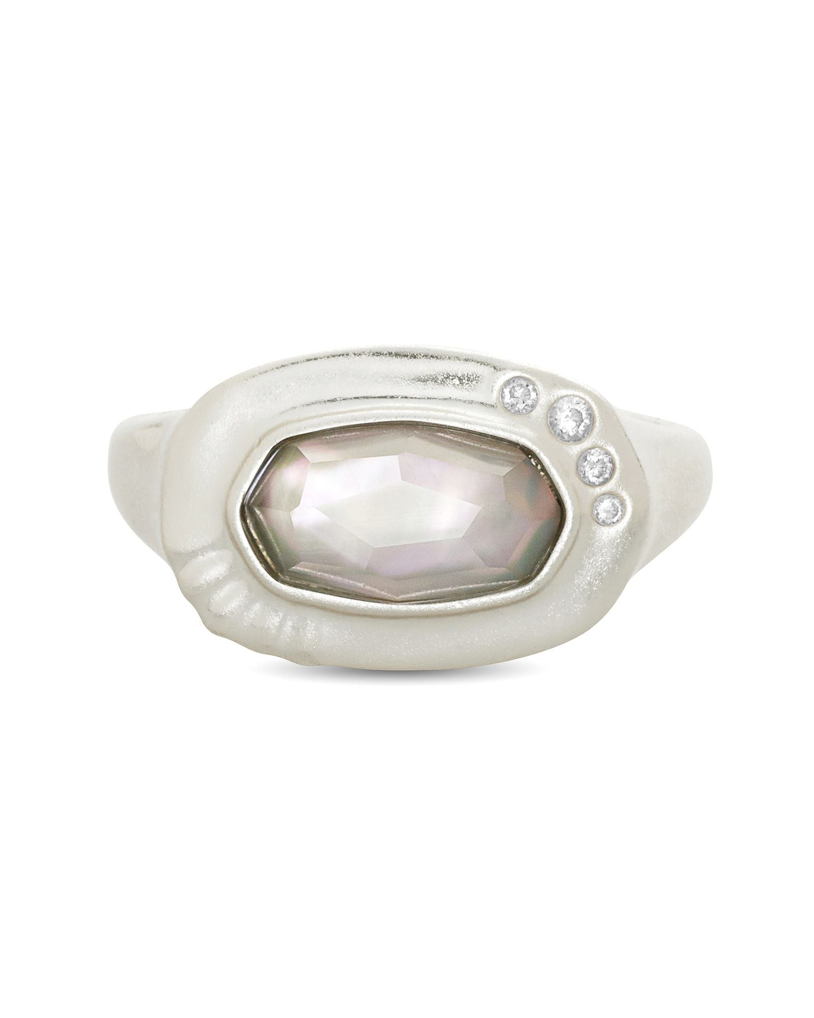 Anna Band Ring Rhodium Gray Illusion