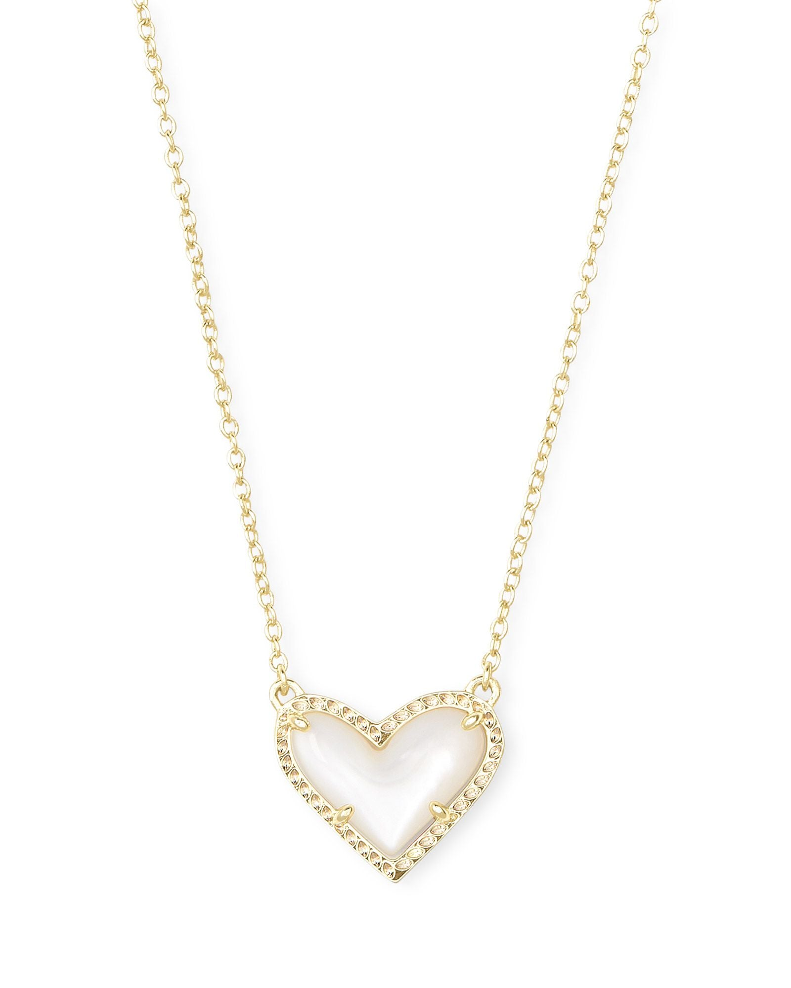 Ari Heart Gold Pendant Necklace In Ivory Mother-Of-Pearl