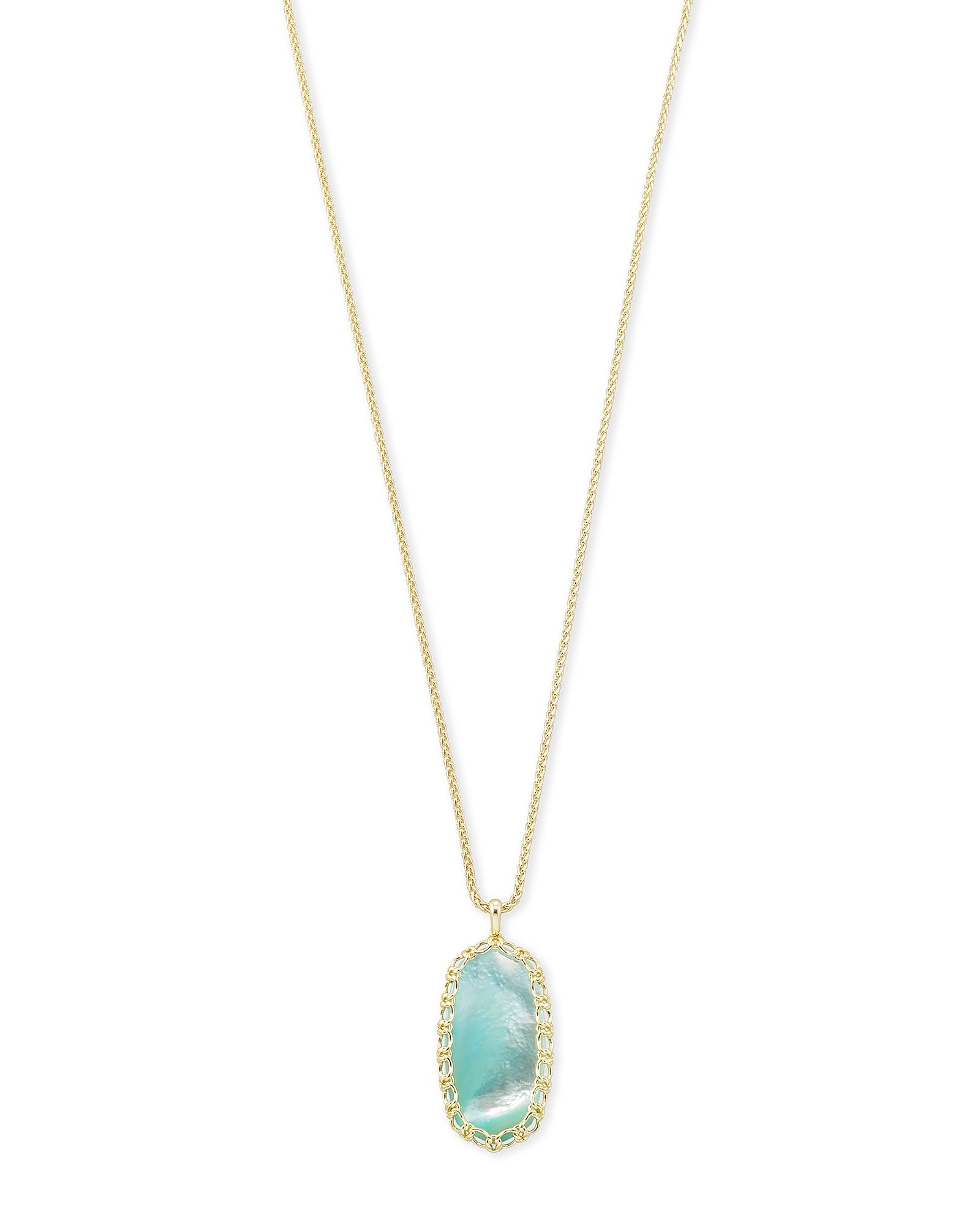 MACRAME REID NECKLACE GOLD AQUA ILLUSION