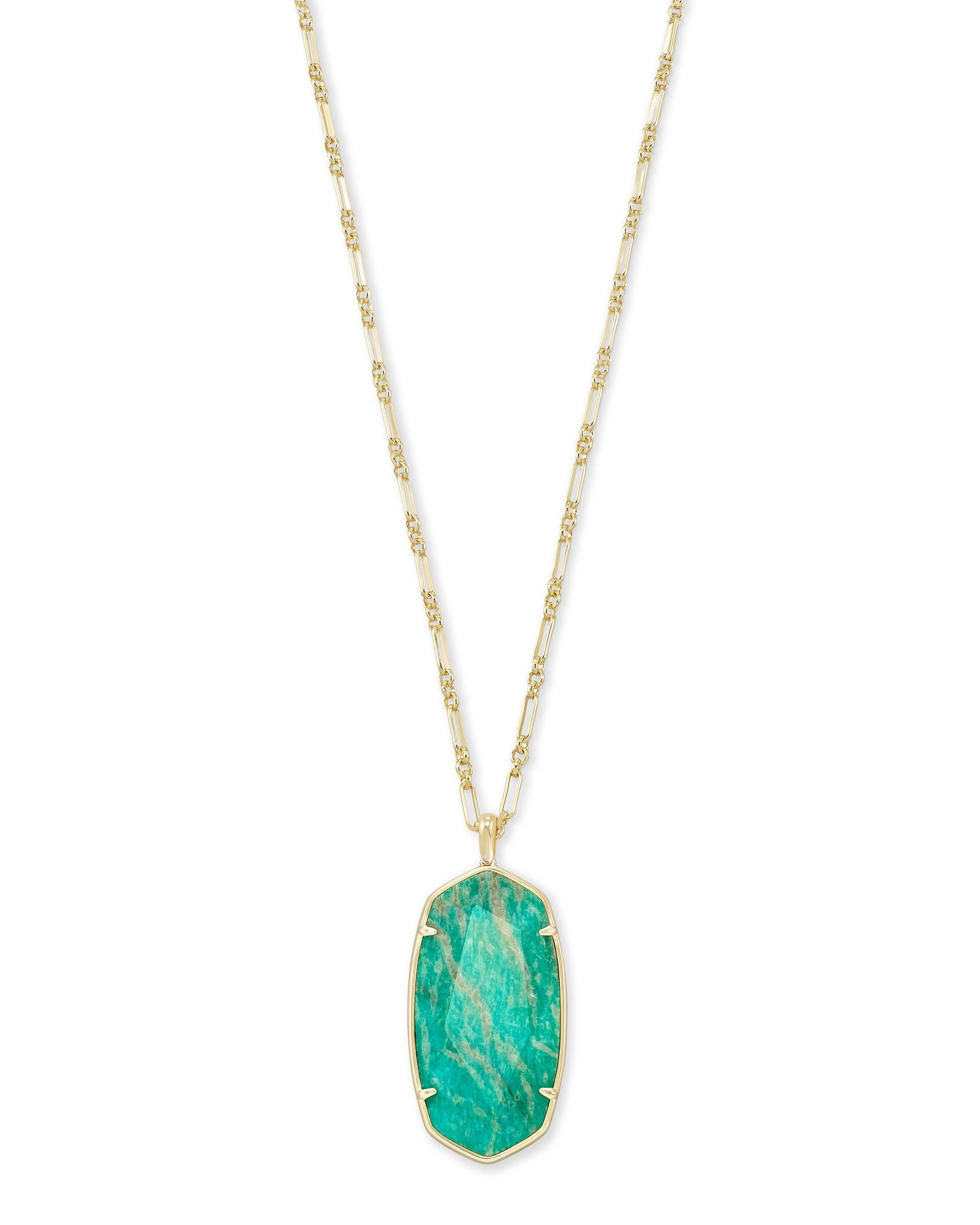 Faceted Reid Necklace Gold Dark Teal Amazonite