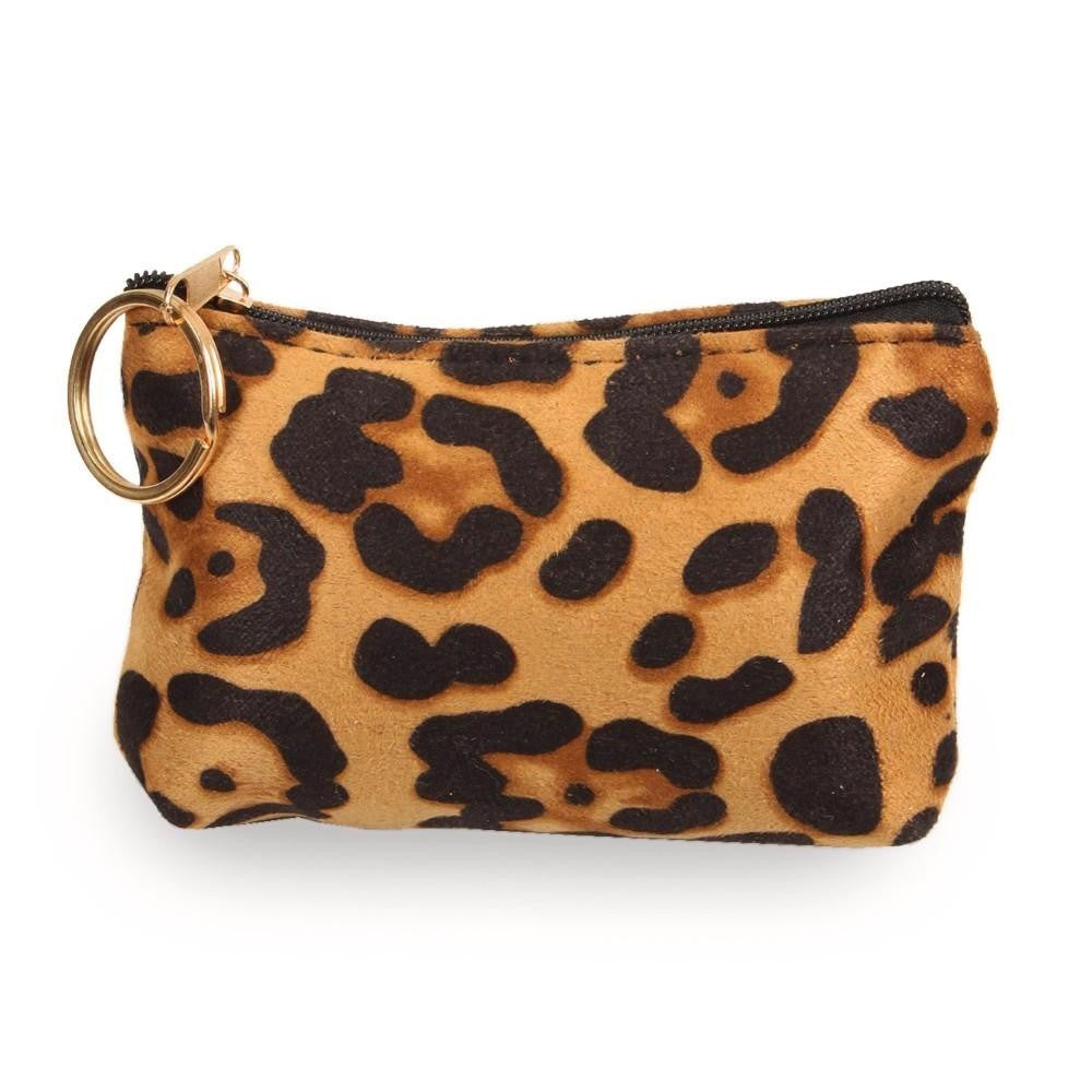 Coin Purse Key Chain - Leopard Print