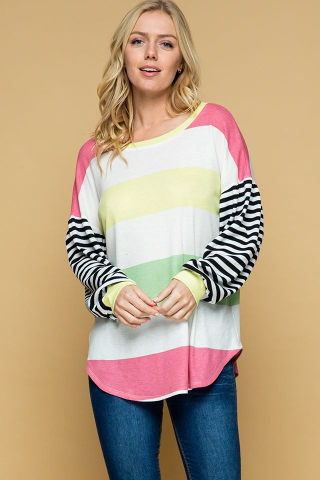 Color Block Bubble Sleeve Top