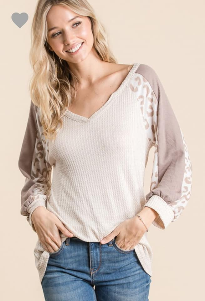 Oatmeal Bubble Sleeve Top