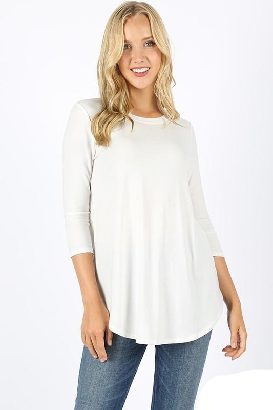 Zenana Ivory Three Quarter Sleeve Top
