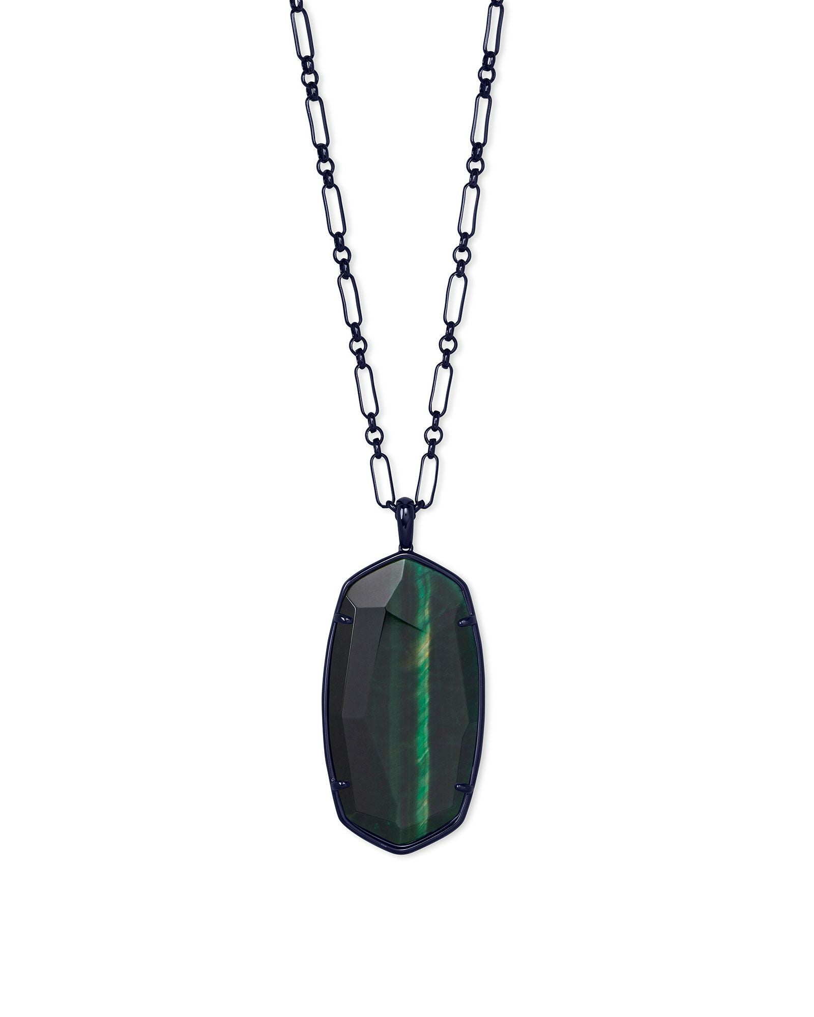 Faceted Reid Necklace Gunmetal Green Tigers Eye