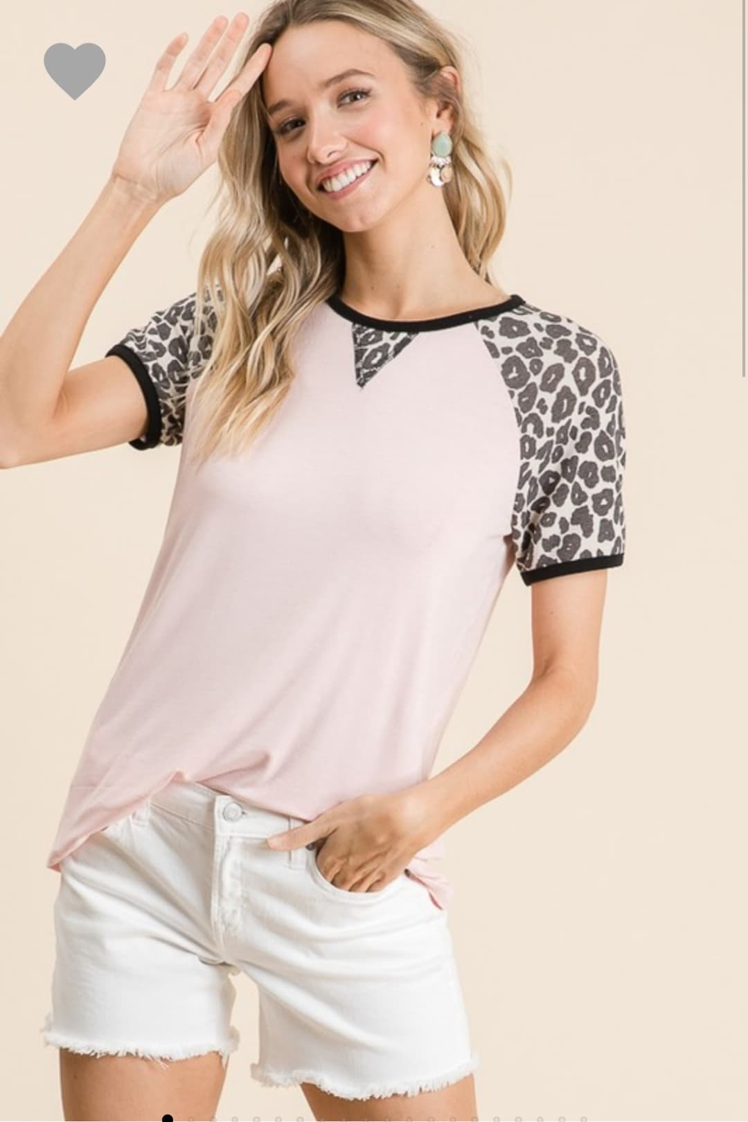 Blush Pink Leopard Print Sleeve Top