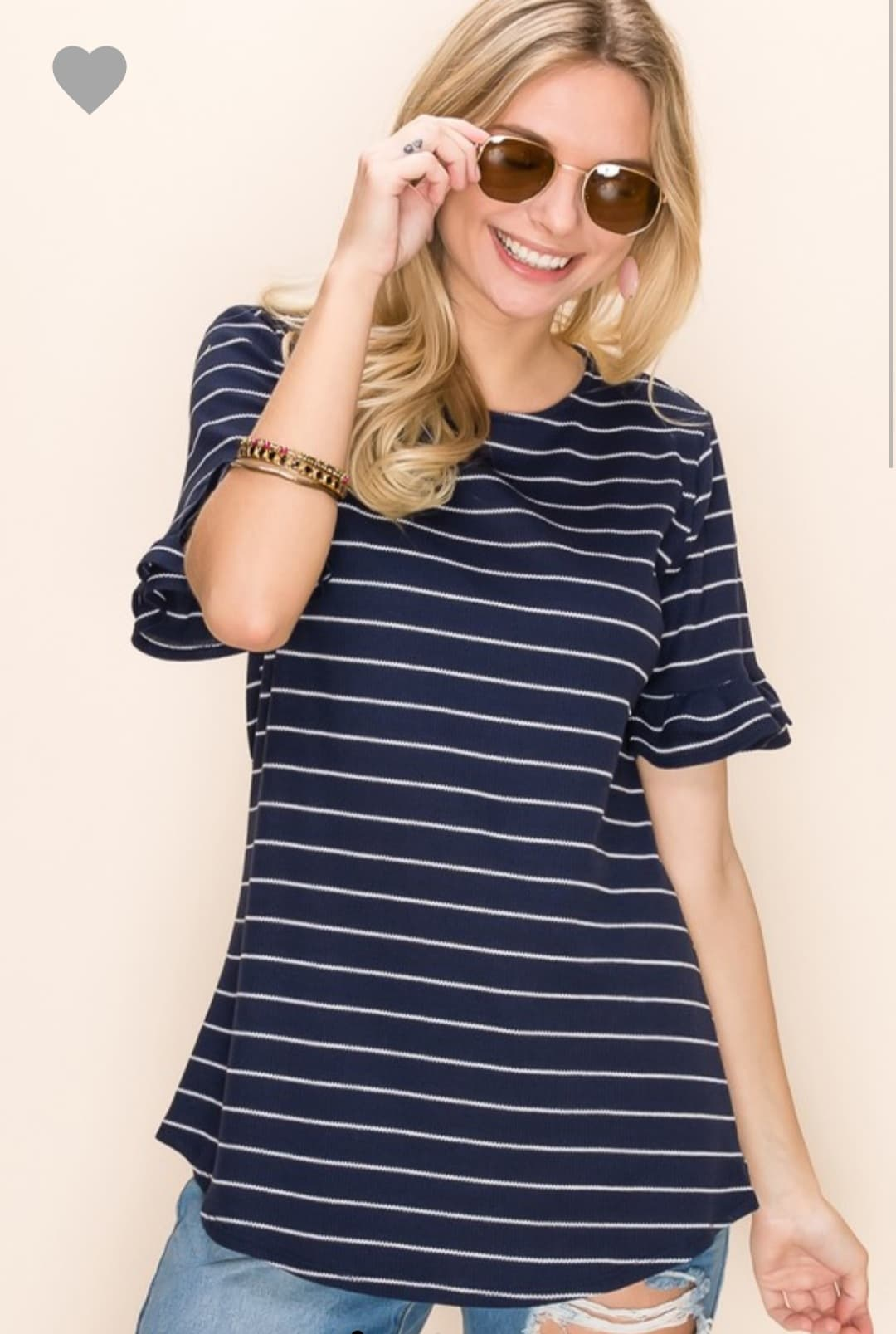 Navy Top with Short Ruffle Sleeves