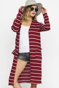 Maroon and White Striped Cardigan