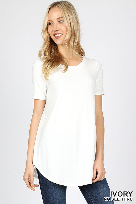 Zenana Ivory Round Hem Short Sleeved T Shirt
