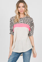 Color Block Short Sleeve Top with Leopard Detail