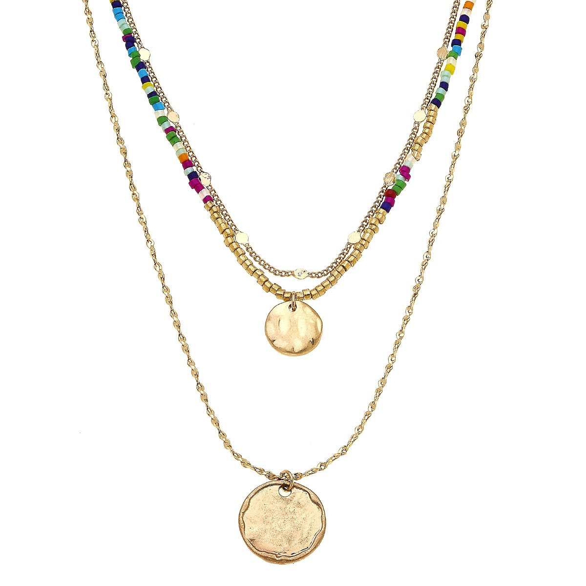 Ava Layered Necklace In Multi Seed Beads
