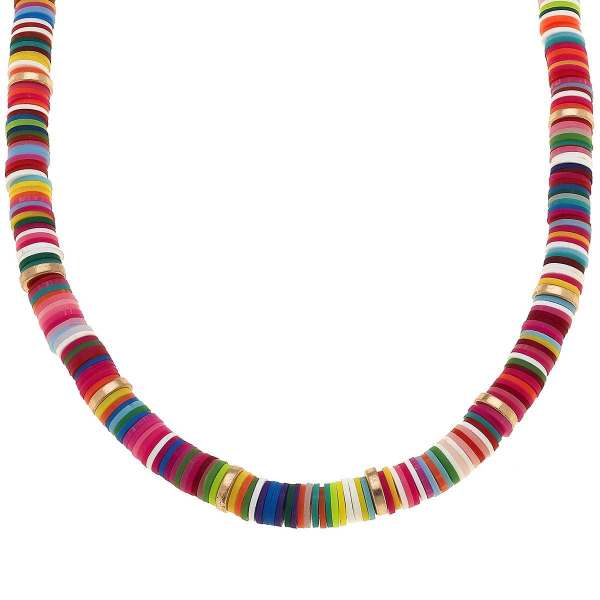 Emberly Color Block Necklace In Polymer Clay
