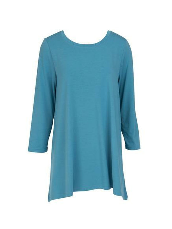 Blue Three Quarter Sleeve Tunic