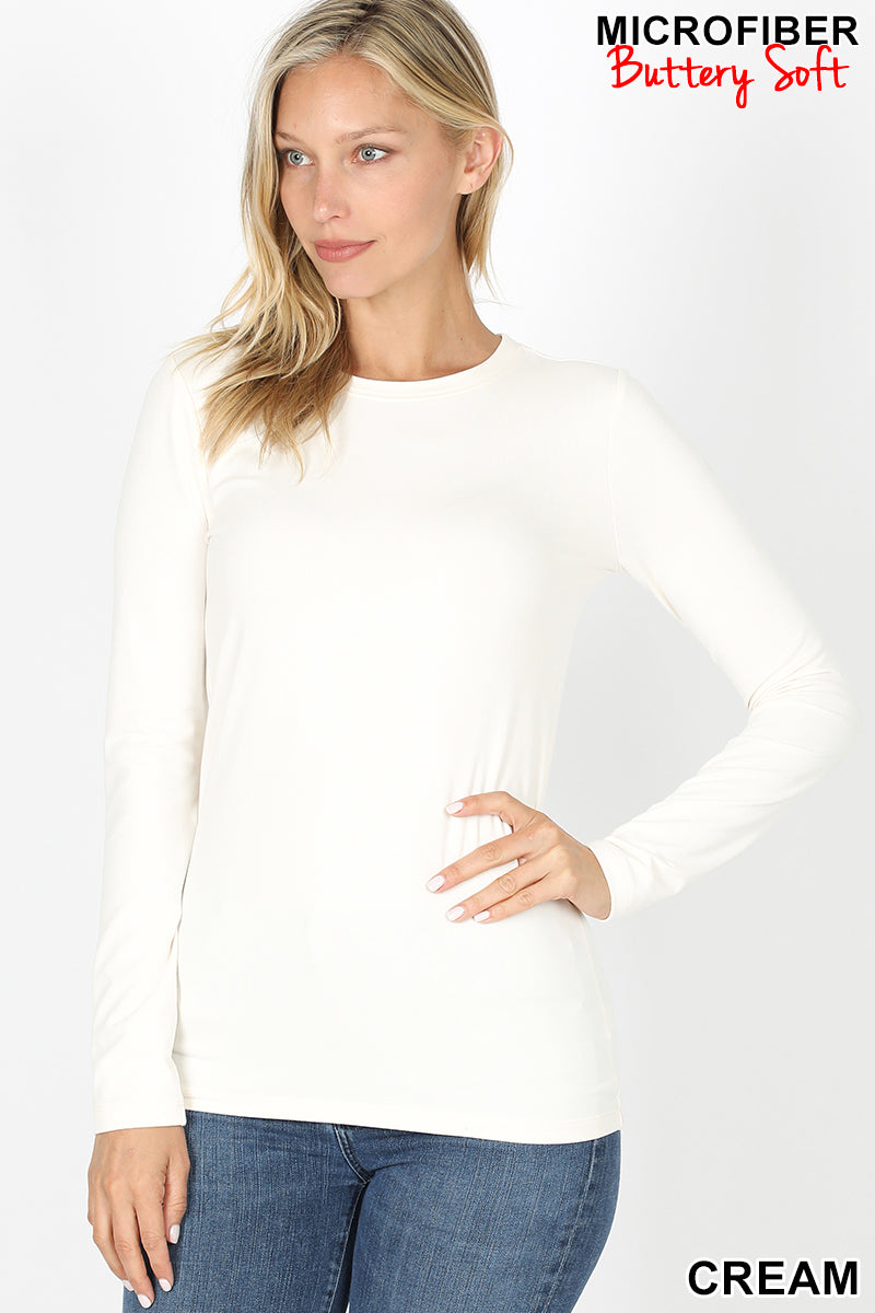 Zenana Cream Long Sleeve Top