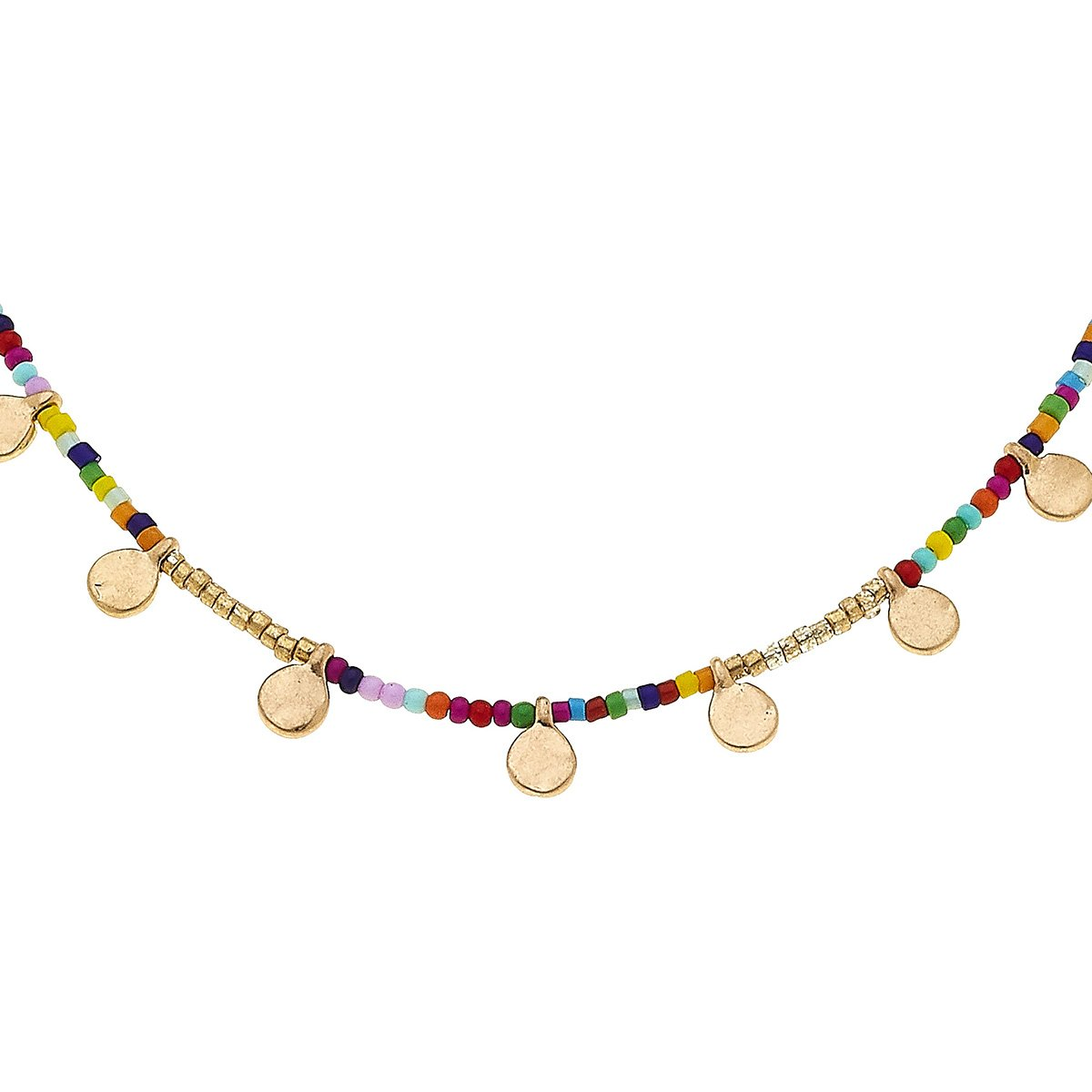 Neve Disc Necklace In Multi Seed Beads